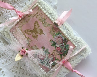 Nature Travel Notebook, Butterfly Journal Mixed Media Lace Book, French Journal,  Notebook, Shabby Art Book,