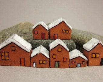 RESERVED for Em RESERVED Lucky Seven...Miniature Terracotta Houses from elukka