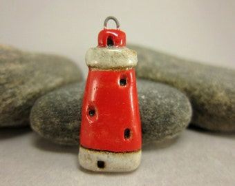 Miniature Lighthouse Pendant in Stoneware...White/Red