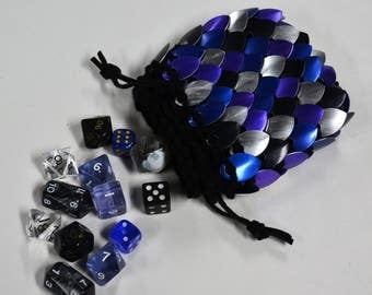 Dice Bag of knitted Dragonhide Scalemail A little bit of Chaos