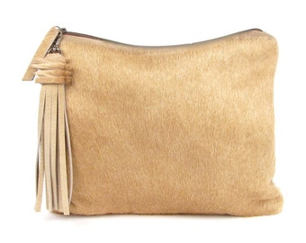 Calf Hair Clutch ~ Brown Leather Bag ~ Brazilian Cowhide Clutch ~ Tan Leather Purse ~ Light Brown Leather Clutch ~ Calfhair Clutch