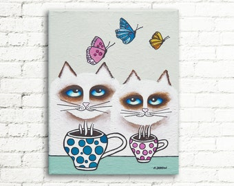 Ragdoll Cat Painting on Canvas Feline Wall Decor, Funny Whimsical Cat Wall Art Gift for Couple 8x10