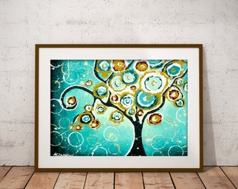 Mothers Day Gift Tree PRINT Turquoise Wall Art Whimsical Tree of Life Curly Tree Woodland Living Room Decor