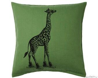 GIRAFFE Eco Linen Zippered Throw Pillow Cover 20x20