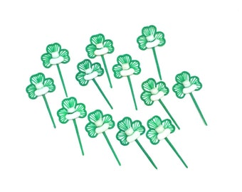 Vintage St. Patrick's Day Cupcake Picks, Cupcake Toppers, Green Shamrocks, White Hat, Vintage Cupcake Pick, Plastic Vintage Picks Set of 12