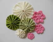 Yo-Yos and Crocheted Flowers -  Ivory, Green and Pink - Cotton Fabric - Cotton Appliques - Cotton Embellishments