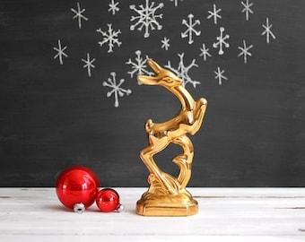 Mid Century Modern Gold Ceramic Deer / Art Deco Deer Figurine / Golden Reindeer Statue / Mid Century Christmas Decoration