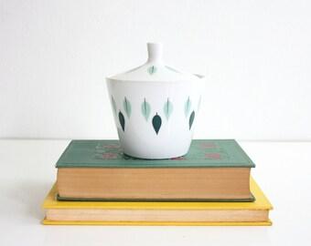 Mid Century Modern Sugar Bowl / Narumi Allegro Sugar Bowl / Green Leaves Sugar Bowl with Lid / Mid Century Trinket Jar / Vintage Sugar Bowl