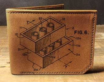 wallet - leather wallet - mens wallet - lego wallet - bifold wallet - unisex wallet - bricks wallet