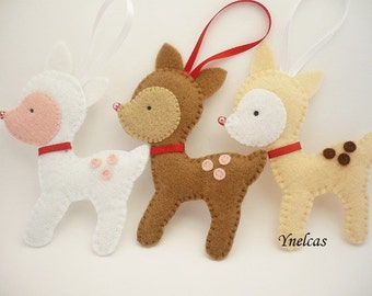 Reindeer felt Christmas ornament handmade xmas tree holiday decorations - ONE ORNAMENT