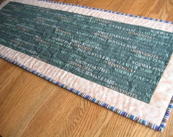 Minnesota Words on Green Quilted Table Runner