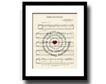 Forever Young by Rod Stewart Spiral Lyric Sheet Music Art Print, Inspirational Art, Custom Art, Name and Date