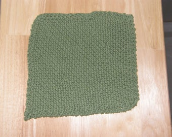 Cotton Knitted Dish Cloth in Olive Green