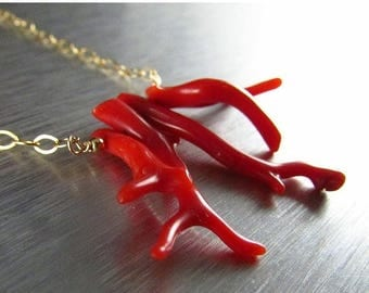 25 % OFF Red Branch Coral Necklace, Gold And Red Coral Necklace