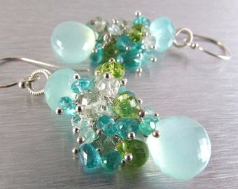 25 % OFF Aqua Chalcedony Cluster Mixed Gemstone Sterling Silver Earrings