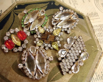 Czech Rhinestone Buttons Vintage Prong Set Rhinestones Made into Buttons Assorted Lot