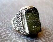 Moldavite Ring Sterling Silver - Size 7 - RARE Czechoslovakia Tektite Impactite - Wicca Pagan Witchcraft New Awakenings
