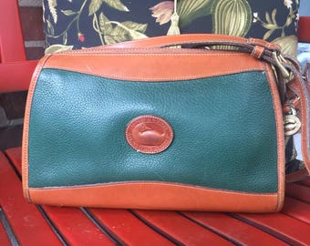 FREE SHIPPING Vintage Dooney & Bourke Green All Weather Leather Crossbody Shoulder Bag Purse