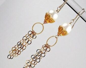 30% SALE Pearl Chain Tassel Earrings 14kt Gold Fill Pearl Dangle Long Gold Chain