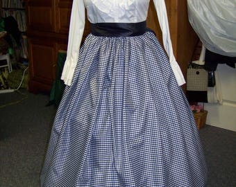 Ladies or Child's Colonial,Civil War,Victorian,costume Long drawstring SKIRT only one size fit all Navy and white checked Taffia Handmade