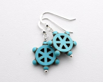 Helm Earrings. Turquoise Blue Boat Helm Earrings. Nautical Jewelry. Magnesite / Howlite Earrings with Sterling Silver.