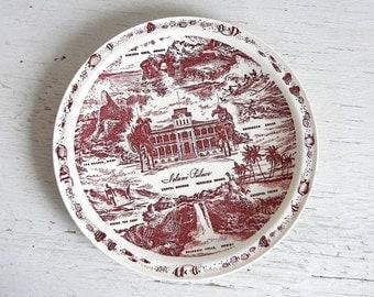 Honolulu Hawaii Souvenir Plate | Hawaiiana Transferware | Vernon Kilns Souvenir State Plate | Iolani Palace Outrigger Canoe Palm Tree
