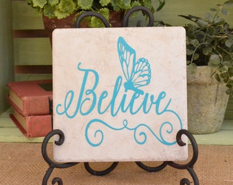 Believe Butterfly Inspirational Tile Personalized Gift Vinyl Home Decor Monogram Tile