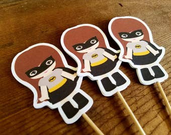 Superhero Girls Party Collection - Set of 12 BatGirl Cupcake Toppers by The Birthday House