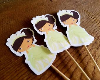 Frog Prince Friends Party - Set of 12 Princess Tiana Cupcake Toppers by The Birthday House