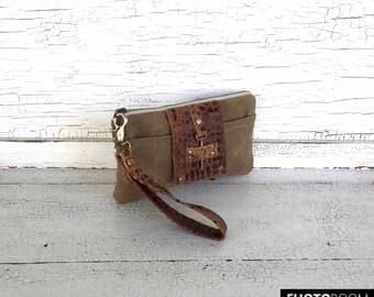 Brown Waxed Canvas &  Leather Smartphone Wallet, Wristlet, Clutch, Organizer, iPhone 7 Plus Wallet