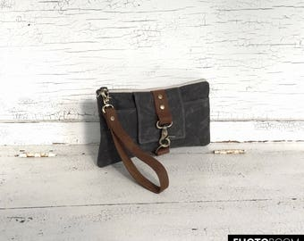 Charcoal Gray Waxed Canvas & Brown Leather Smartphone Wallet, Wristlet, Clutch, Organizer, iPhone 6 Plus Wallet