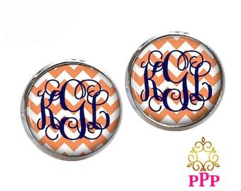 Orange Chevron Monogram Earrings, Pendant Earrings, Stud Earrings, Dangle Earrings, Personalized Studs, Personalized Jewelry, 415
