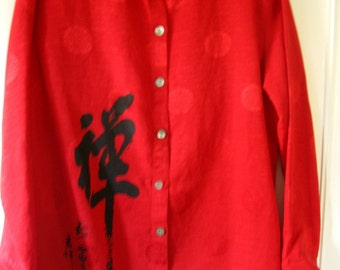 Vintage Chico's Tunic/Blouse,Gorgeous Bright  Red With Asian Design Character On Front in Black, Size 2