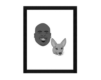 Two Custom Face Drawing Portraits of people or pets