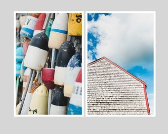 cape cod print set, weathered cape cod shingles, boat buoys, beach house nautical decor, colorful large wall art, set of 2 prints home decor