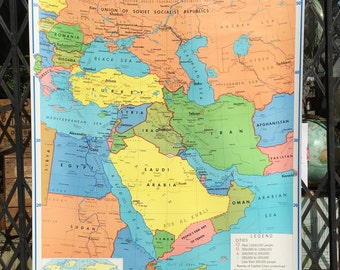 Vintage Rand McNally School Classroom Map of the Middle East