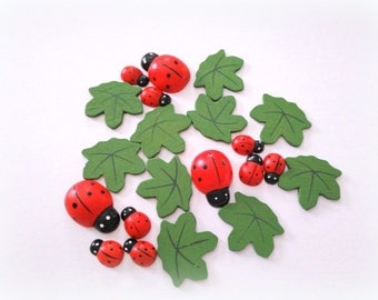 DESTASH - Wood Lady Bugs and Leaves - Crafting Supplies