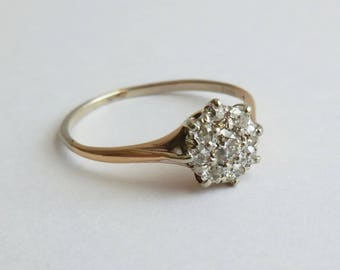 Edwardian 14K Gold Diamond Cluster Ring European Cut Diamonds .50 carat total