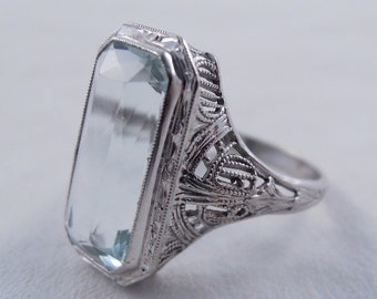 Antique Art Deco 14K White Gold Filigree Large Synthetic Aquamarine Cocktail Ring Size 6
