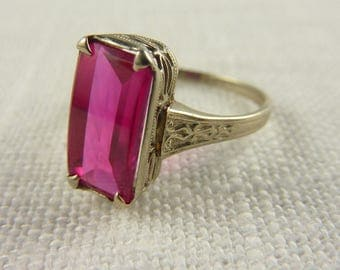 Vintage 10K White Gold and Synthetic Ruby Filigree Setting Ring Size 6