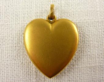 Vintage 14k Matte Finish Heart Locket Pendant Makers Mark
