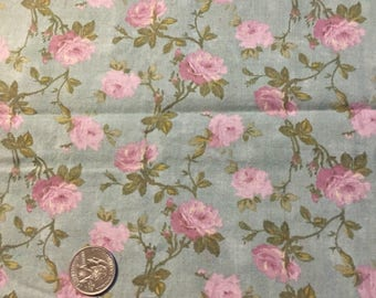 """Lavender roses flower fabric, sage green cotton print. quilting, sewing, 31 x 43""""  oop Moda by Robyn Pandolph"""