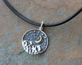 Moon of My Life Sterling Silver & Black Leather Necklace- crescent moon over mountains- Daenerys Game of Thrones Inspired- free shipping USA