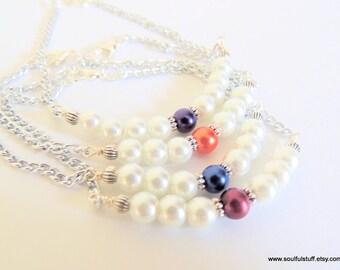 Pearl Bar Bracelet, Color Pop Bracelet, Minimalist Bracelet, Bridesmaid Gift, Handcrafted Jewelry, Wedding Jewelry, Pearl Bracelet
