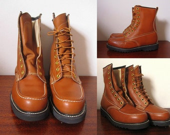Vintage 70s Dead Stock Knapp Mock Toe Brown Leather Boots with Oil Resistant Soles Size 8.5D