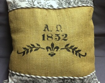 Burlap Pillow with Stenciling, French Country, French Farmhouse Decor, Burlap Backing, French script, French Farmhouse Decor