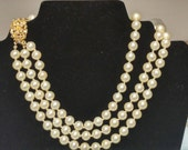 Castlecliff Designer Necklace, Triple Strand Pearl with Ornate Clasp #A764