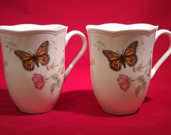 Lenox China Porcelain Butterfly Mug Set Monarch & Dragonfly Coffee Tea Cups #B449