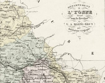 Antique Map of Yonne, France - With Inset of Auxerre - Handcolored - 1800s French Vintage Map