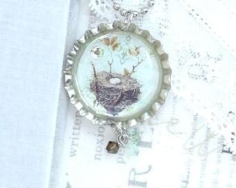 Nest Pendant Necklace Woodland Necklace Bird Nest Necklace Nature Necklace Egg Nest Necklace Nest Gift
